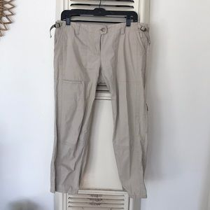Theory woven pale chino khaki cropped pant
